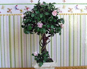 Decorative Miniature Tree with roses in Pot for your Dollhouse. Miniature Tree in a pot. Realistic plant. 1:12 Scale