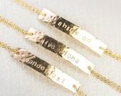 Alohilohi bracelet - gold ID bracelet, gold bar bracelet, personalized jewelry, name bracelet, initial bracelet, inspiration gift, hawaii