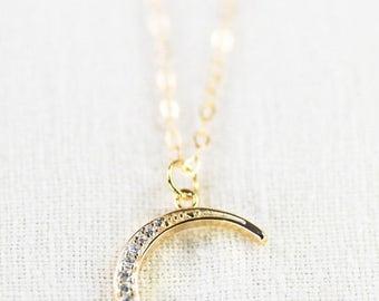 20% OFF SPRING SALE Ka Nui necklace - gold crescent moon necklace, gold cz necklace, pendant necklace, cz moon necklace, layering pendant ne