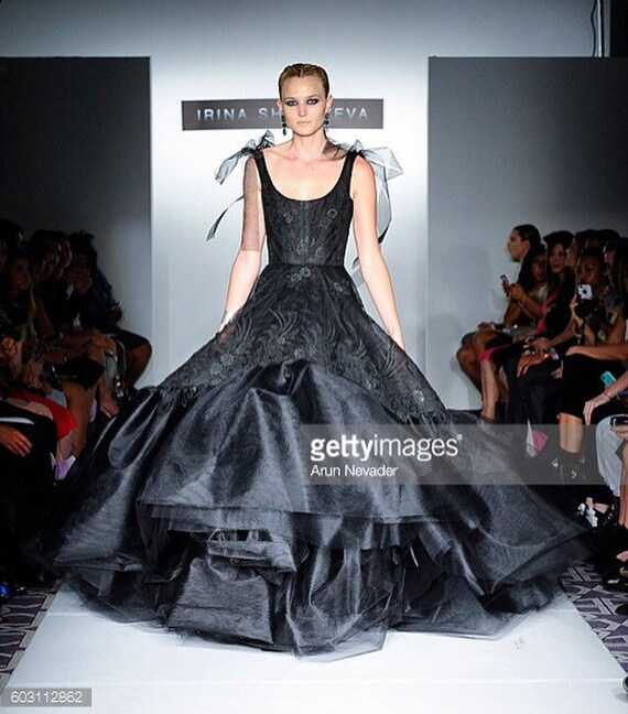 Irina Shabayeva Lace Applique tulle ballgown with extra long train. Comes in custom colors ..