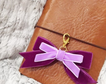 Purple and lilac velvet bow charm