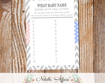 Baby Alphabet Name Game - Can you guess what name the Mom wrote for each letter - Choose your colors - card matches your invitation design