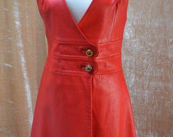 vintage 60's red leather wrap jumper sz 42 mod carnaby street swinging sixties