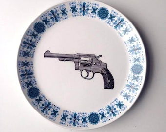 Vintage Gun Revolver Colt Plate Altered Art