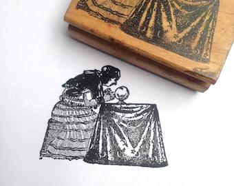 Destash Wooden Rubber Stamp Fortune Teller Gipsy