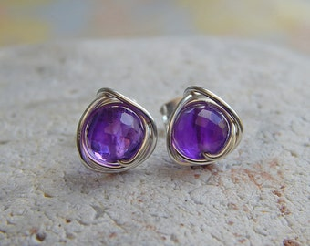 Amethyst Stud Earrings, Amethyst Earrings, February Birthstone, Sterling Silver Gemstone Earrings, Purple Earrings, Bridesmaids Gifts