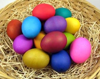 12 Dyed Pysanky Pisanki Ukrainian Polish Easter Egg Chicken Egg Skrobanki Drapanki Dryapanky Scratch Technique