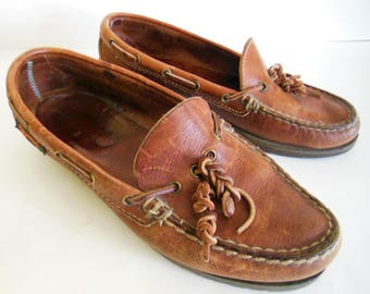 Vintage Men's Quoddy Made in USA brown leather loafers Size 7 these loafers have so much character soft leather