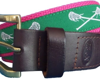Green Lacrose Leather Belt / Leather Belt / Nautical Belt / Preppy Webbing Belt Men, Women and Children/Green and White Lacrosse on Pink Web