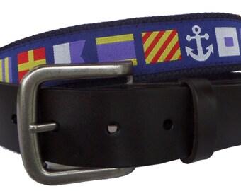 Nautical Flag Belt/ Leather Belt / Canvas Belt / Preppy Webbing Belt for Men, Women and Children/Nautical Flags on Dark Royal Ribbon