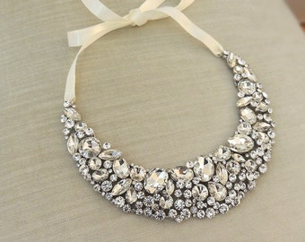 Wedding Statement Necklace , Bridal necklace, Wedding Jewelry, Statement Crystal Necklace, Wedding Accessory, Bold Necklace