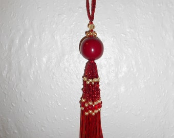 Gorgeous OOAK Handmade Swarovski Red and Gold Crystal and Pearl Beaded Tassel Gift Ornament (#11)