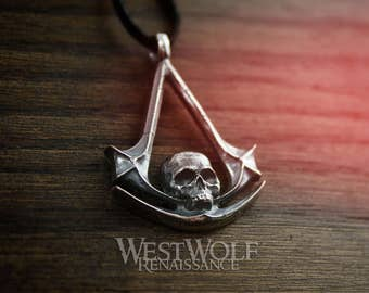 Assassin's Creed Skull Symbol Pendant - 925 Silver --- Black Flag/Pirate/Order