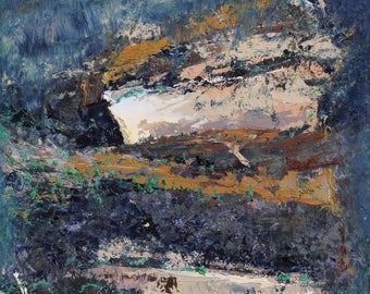 "Original Abstract Oil Painting,  ""Bark"" , 12""x9"", by  artist John Kelley"