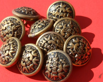 Vintage Brass Shield Coat of Arms Metal Buttons, Round Shank Back Jewelry Craft Buttons, 3/4 inch