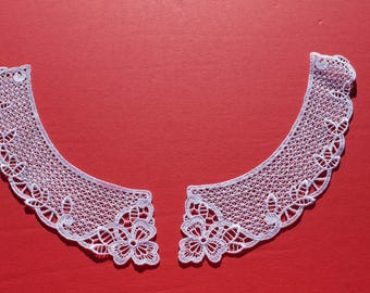 Vintage White Crocheted Flower Lace Collar, Machine Crocheted, Blouse Top Sweater Sew On Floral Collar NOS
