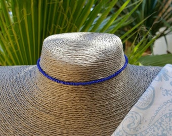 cobalt blue choker seed bead necklace lapis electric blue office or beach wear