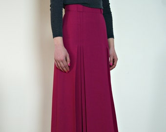 1980s jacques vert midi skirt | fuchsia skirt | vintage pink pleated skirt | wool crepe