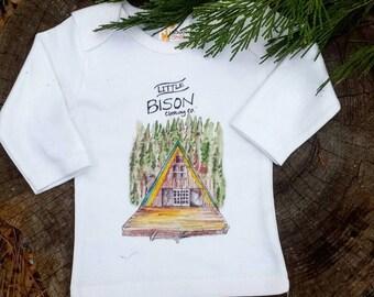 SIZE LARGE Hideaway shirt,  kids clothes, kids long sleeve shirt, camper clothes,  forest shirt, camper shirt, log cabin shirt, kids camping