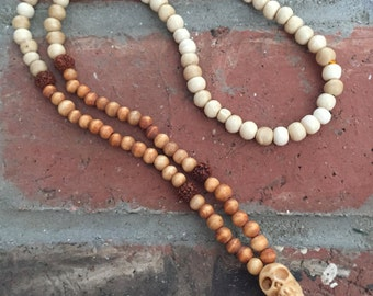Bone Bead Necklace with Skull and Tassel
