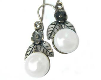 Sterling Silver Pearl Earrings Israel Signed Artisan Vintage Silver And Glass Pearl Flower Jewelry Gift Idea For Women Wedding Bride