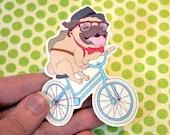 Hipster Pug Vinyl Sticker