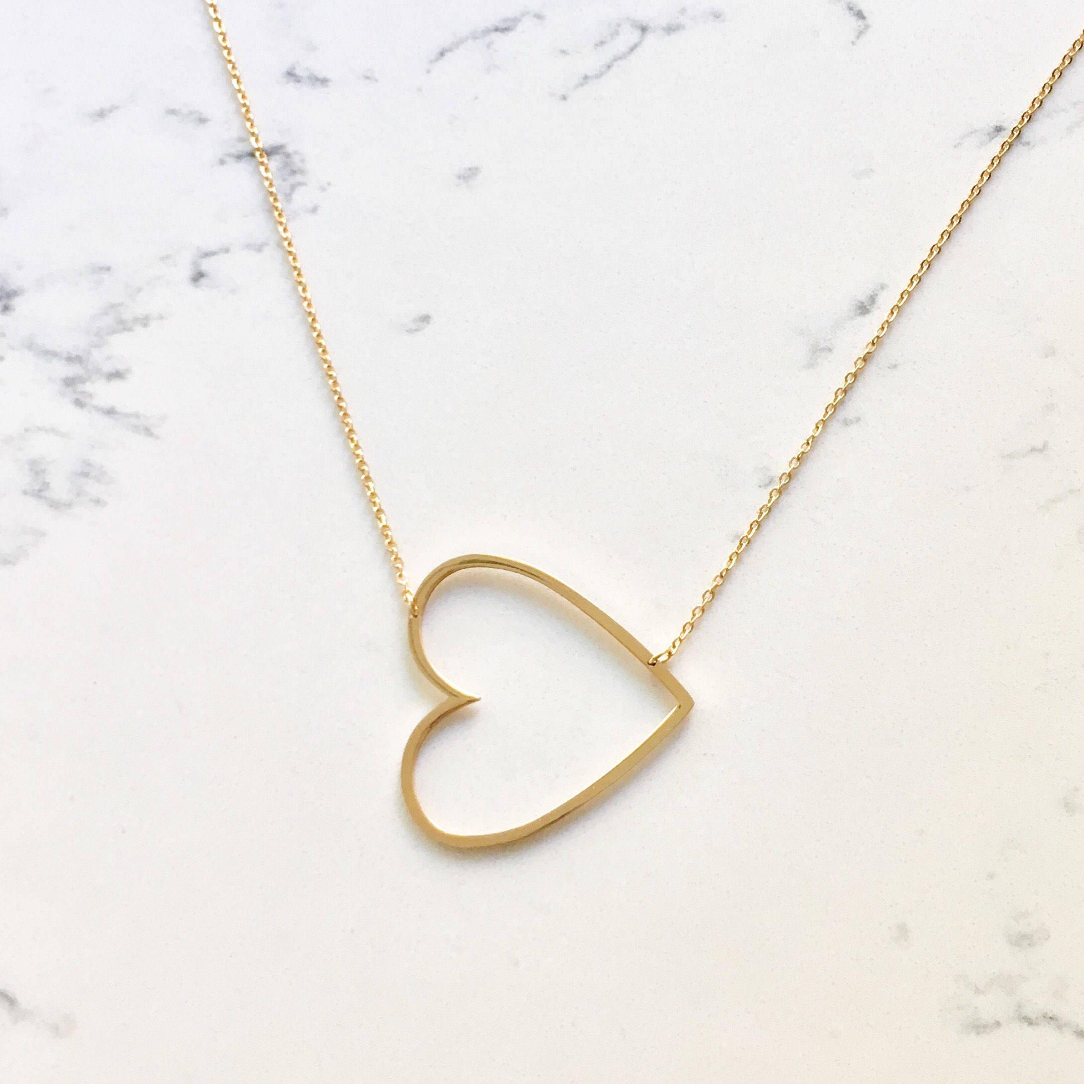 Sale Large Heart Necklace Oversized Heart Open Heart
