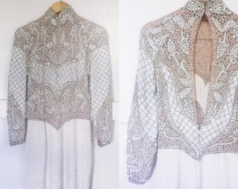 Vintage Stunning Stephen Yearick Heavy beaded +  Sequin Silk Dress