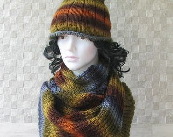 Hat and Scarf Set, Perfect Winter Accessories for Women and Men, Hand Knit in Multicolor Yarn, Handmade in Poland