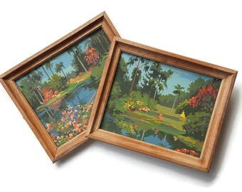 Vintage Paint by Number Cypress Gardens Craft Master Southern Bell Lake Pond Water Scene Landscape Pair Mid Century