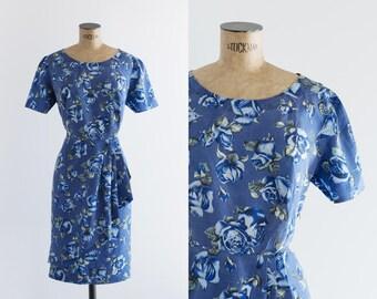 1960s Blue Rose Print Dress - Vintage 60s Fashion - Rose Bleu Dress