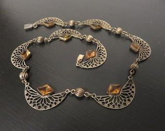 Vintage Czech Glass Necklace,  Amber Glass Filigree Necklace