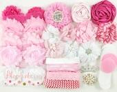 DIY 40 pcs Flower Headband Kit -White and Pink Color Set - DIY Baby Shower Flower Headband Kit - Flowers ,Elastic,Rhinestones, Felt and Bow