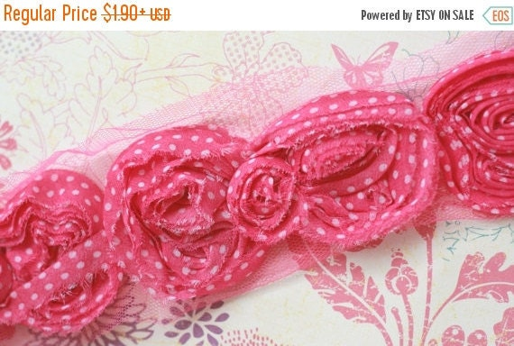 """SPRING SALE 15% OFF 2.5""""  Shabby Bow Trim - Hot Pink with White Dot  - Chiffon Bow Trim - Bow Trim -  Hair Accessories Supplies"""