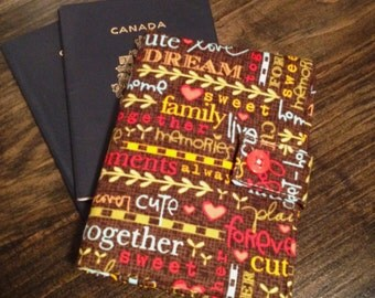 Passport Wallet, Passport Cover - 2 Passports - Inspirational Words - Family - Cherry Blossom