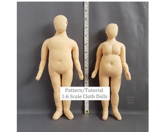 Printed pattern 1:6 scale plump mannequins. Instructions plus size playscale dolls. Full figure man and full figure woman blank dolls DIY.