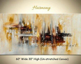 Original Large painting, Yellow Abstract painting, large acrylic painting, art on canvas, modern art, 60'' x 30''.