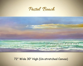 Pastel Beach Large Painting, Abstract canvas painting, Large Abstract art, Ocean painting, Seascape art on canvas, Large sea painting