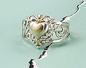 Heart Ring, Silver and 14k Gold Heart Ring, Sterling Silver and Gold Ring, Filigree Heart Ring, Silver Filigree Ring, Romantic Ring