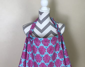 Nursing Cover - blue and hotpink scroll nursing cover twins breastfeeding cover blue and pink hooter hider with a fabric flower clippie