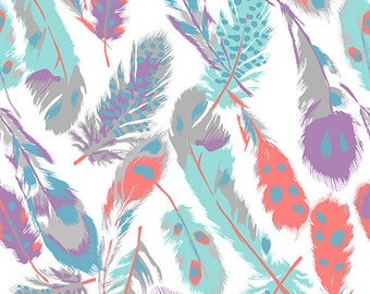 Bolt By Girl Charlee Modern Reflection Feathers Cotton Spandex Knit Fabric By the HALF Yard