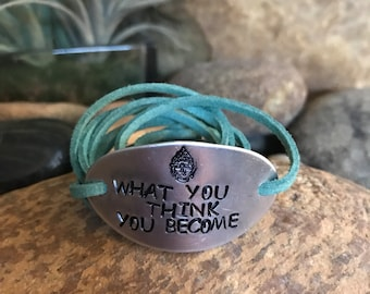 What you think you become bracelet with hand stamped oval aluminum plate and leather cord - buddha quotes, yoga jewelry