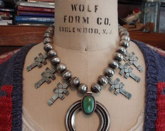 Vintage Navajo Sterling & Turquoise Naja Cross Necklace