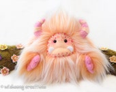 """Monster plush, yeti artist bear, pink and peach faux fur monster collectible toy, kawaii plush, art doll, fur fantasy creature """"Poggles"""""""