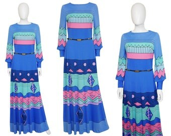 Louis Féraud 1960s 1970s Vintage Maxi Evening Dress Signature Belt Graphic Print Blue Pink Mod Space Age US Size 6-8 Small Medium