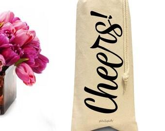 Wine Gift Bag, Cheers Bottle Tote, Wine Bottle Bag, Champagne Drawstring Tote, Canvas Wine Bag, Bottle Bag Wedding Shower Gift,
