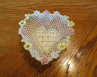 Vintage Belleek Basket Heart Shaped, Colorful Flowers, Circa 1930-50 Ireland, Irish Woven Porcelain Pink, White & Yellow Floral Trim