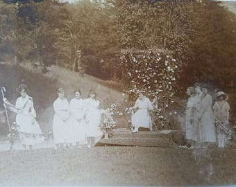ladies in waiting - photograph of women in festive garb, outdoor ceremony, odd ethereal photo, vintage antique original, 6.5 × 4.5 inches