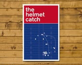 """American Football Print - Swiss Style Poster - The Helmet Catch - David Tyree catch for Giants against Patriots in 2008 (11 x 17"""")"""