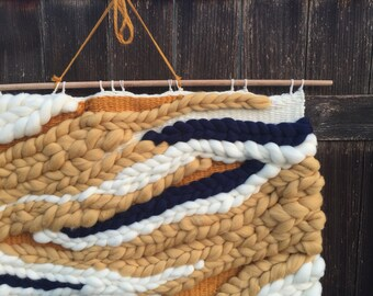 FLOW | Camel and Navy Roving Wall Art